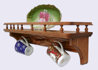 Picture of a Decorative Wall Mounted Shelf, Country Style with Gallery Rails and Mug Pegs, Oak Wood, 24 inches