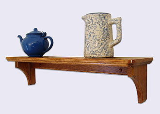 Picture of a Decorative Wall Mounted Shelf, Country Style, Oak Wood, 24 inches