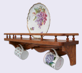 Picture of a Decorative Wall Mounted Shelf, Modern Style with Gallery Rails and Mug Pegs, Oak Wood, 24 inches